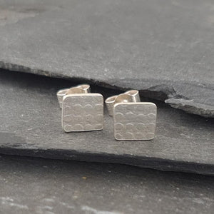 Wonky Square Textured Silver Stud Earrings a Earrings from A Little Trinket