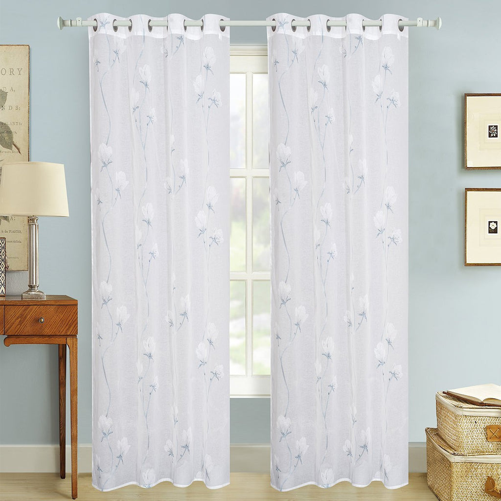 "D&B Hawaii Collection - Printed Sheer Curtain Panel w/ Grommets (56"" x 90"") - Grover Essentials"