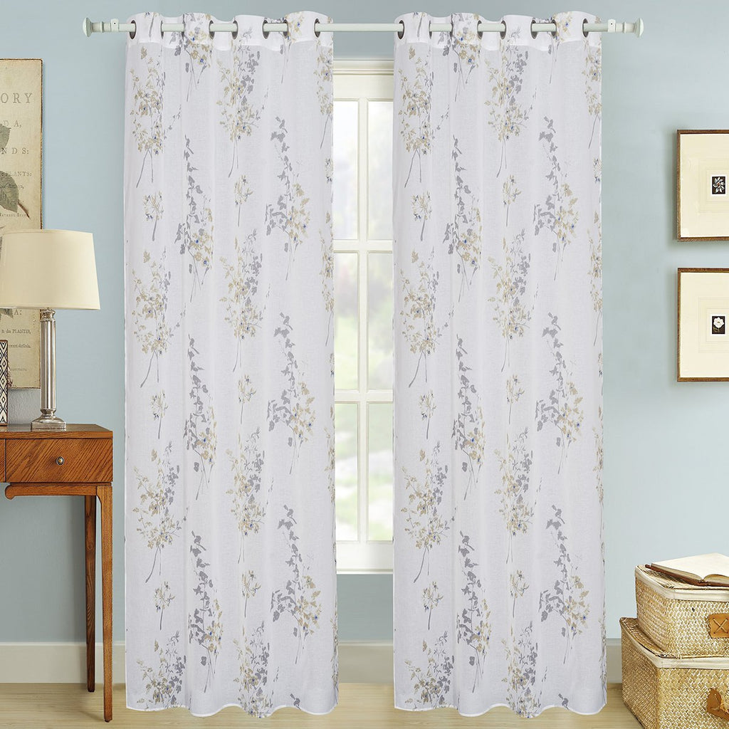 "D&B Las Vegas Collection - Printed Sheer Curtain Panel w/ Grommets (56"" x 90"") - Grover Essentials"