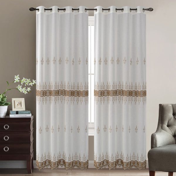 "D&B Chili Collection - Embroidered Sheer Curtain Panel w/ Grommets (56"" x 90"") - Grover Essentials"