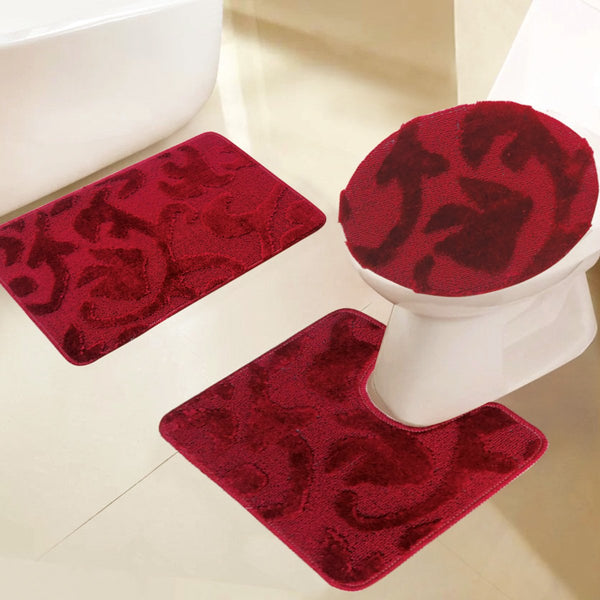 3 PC Embossed Bath Mat Set - Grover Essentials