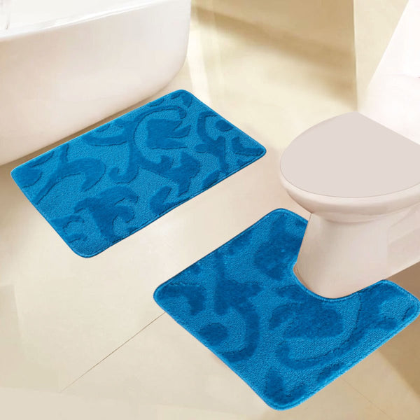 2 PC Embossed Bath Mat Set - Grover Essentials