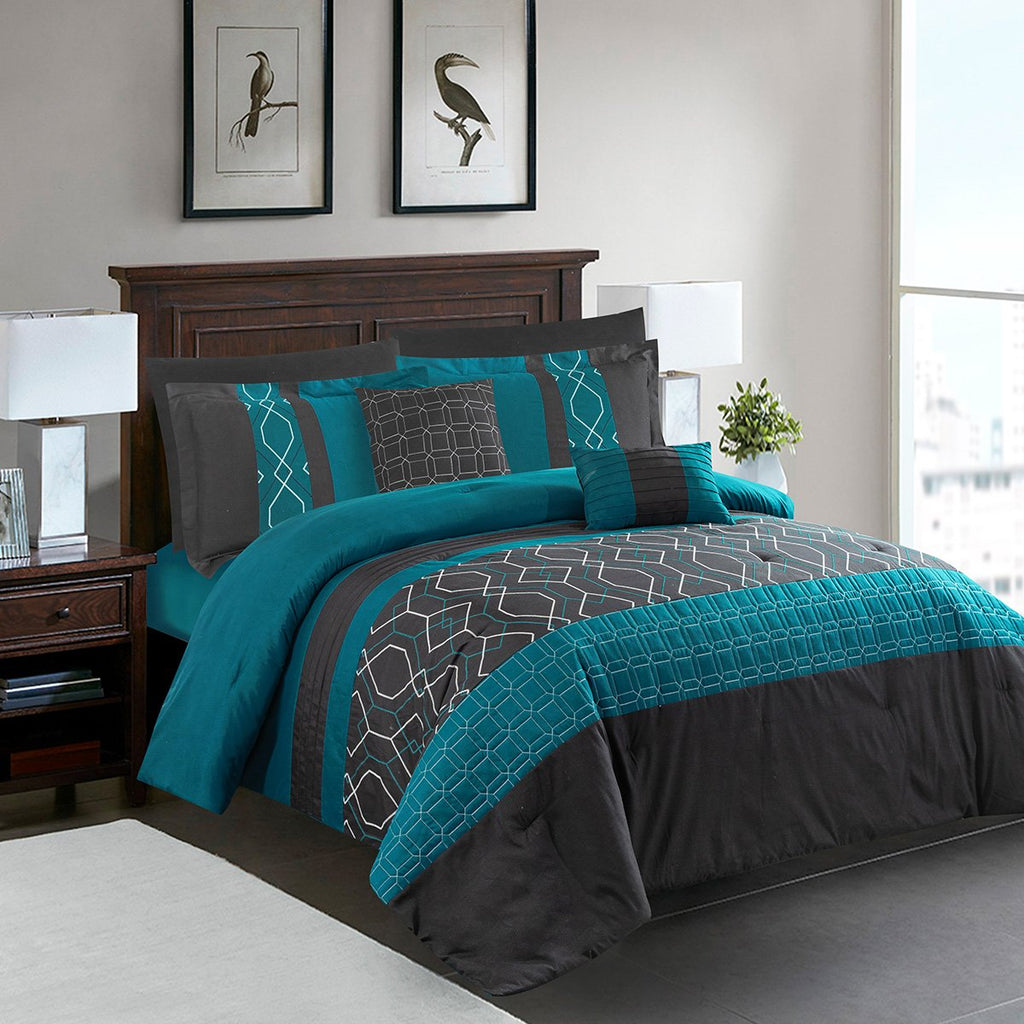 8 PC Embroidered Comforter Set - Grover Essentials