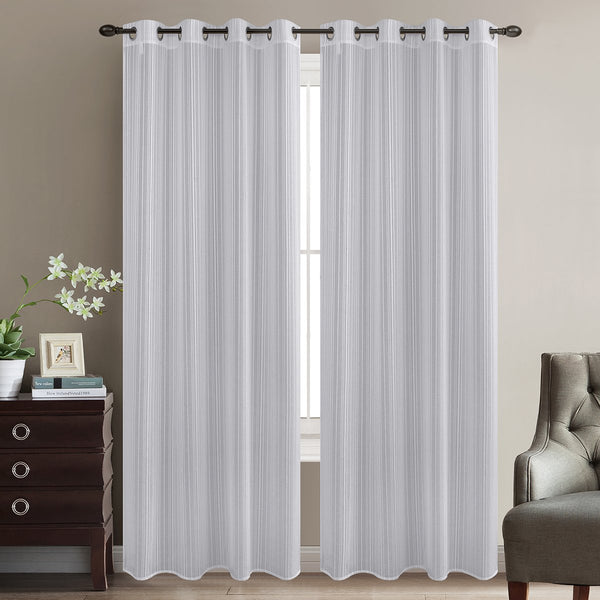 "Prarie Sheer Damask Curtain Panel w/ Grommets - 52"" x 90"" - {product_type] 