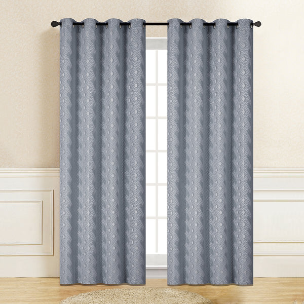 "Mercie Embossed Jacquard Semi-Blackout Curtain Panel with Grommets (56"" x 96"") - Grover Essentials"