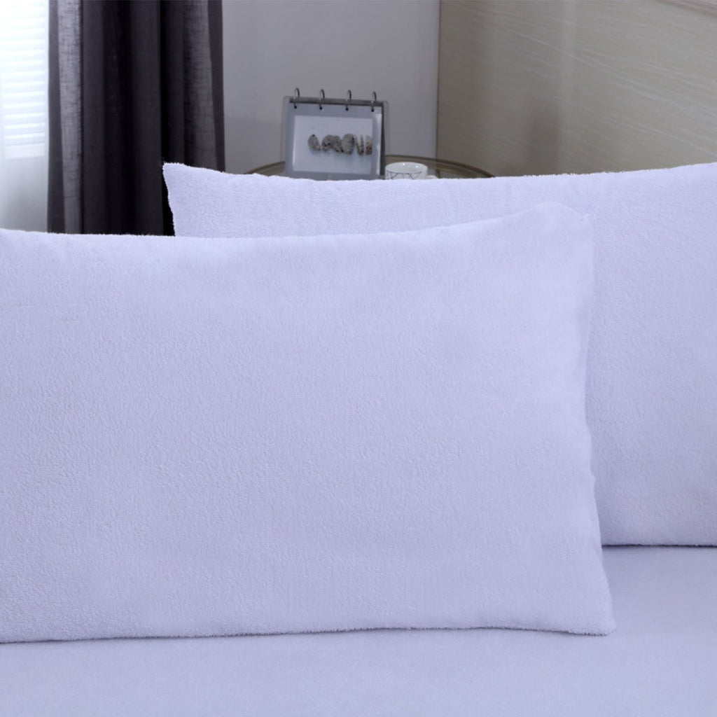 Cotton Terry Waterproof Pillow Protector - Encasement - Pack of 2 - Grover Essentials