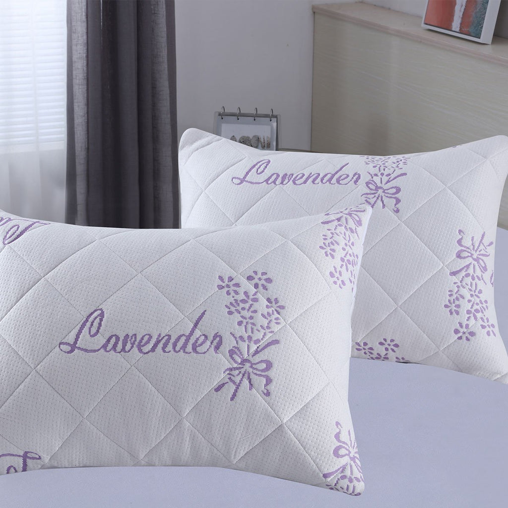 Lavender Bamboo Waterproof Pillow Protector - Encasement - Pack of 2 - Grover Essentials