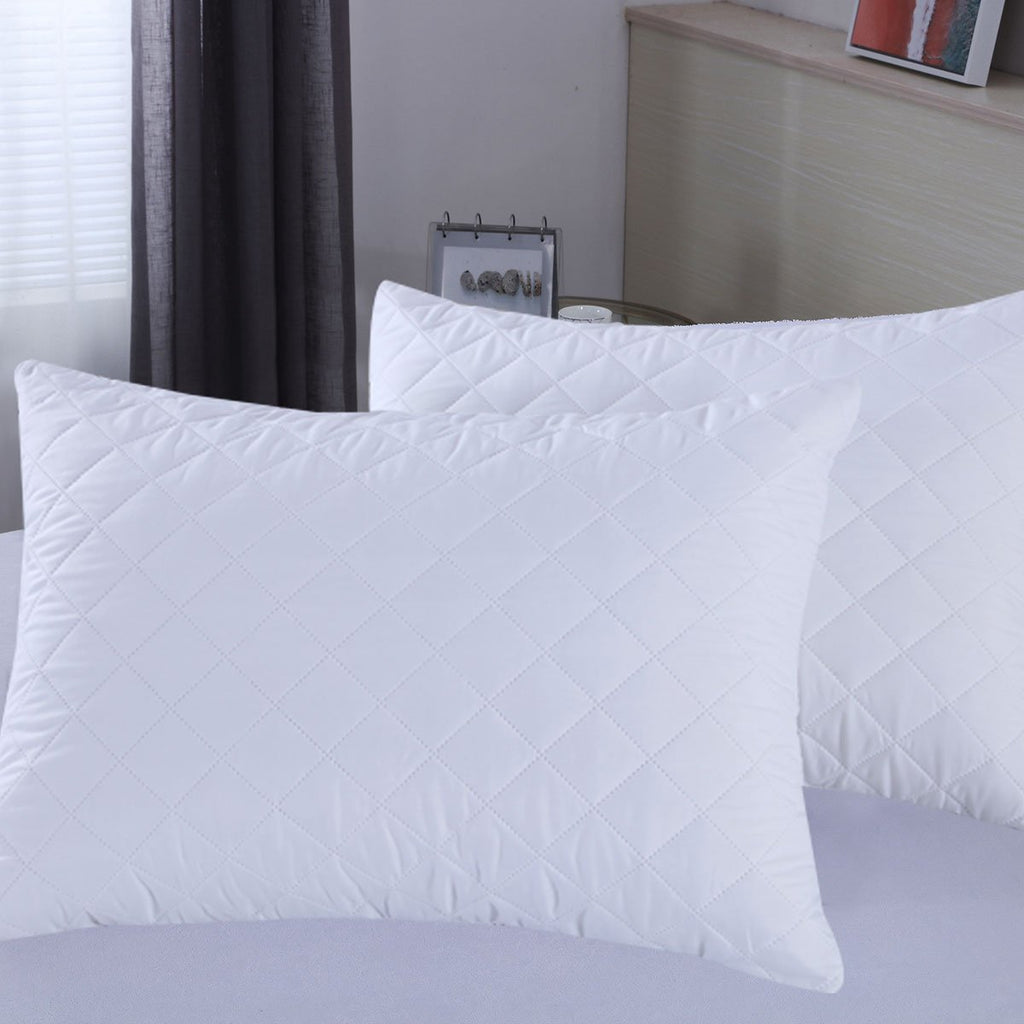 Quilted Microfiber Waterproof Pillow Protector - Encasement - Pack of 2 - Grover Essentials