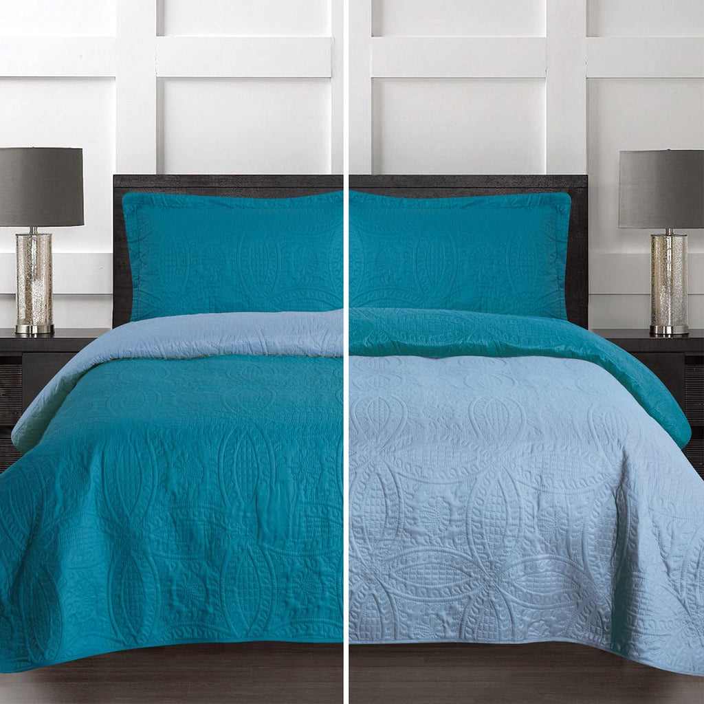 3 Piece Soft Reversible Quilt Coverlet Set - Microfiber Lightweight Bedspread - {product_type] | Grover Essentials