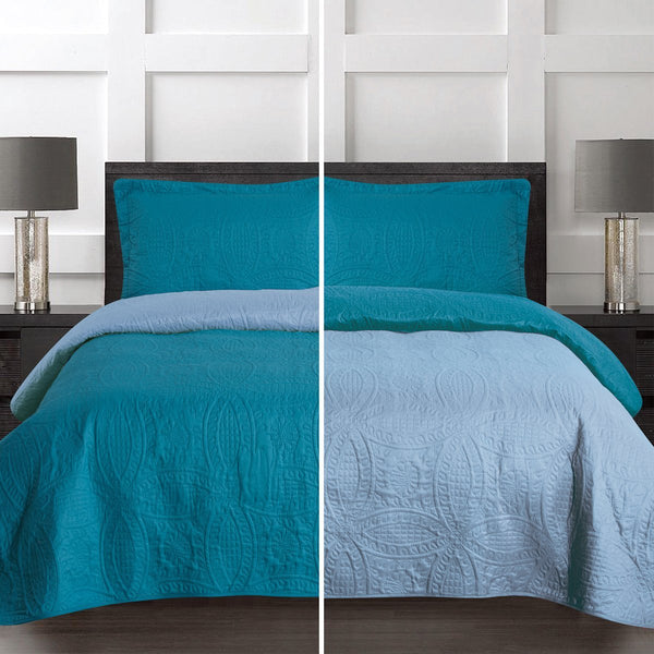 3 Piece Soft Reversible Quilt Coverlet Set - Microfiber Lightweight Bedspread - Grover Essentials