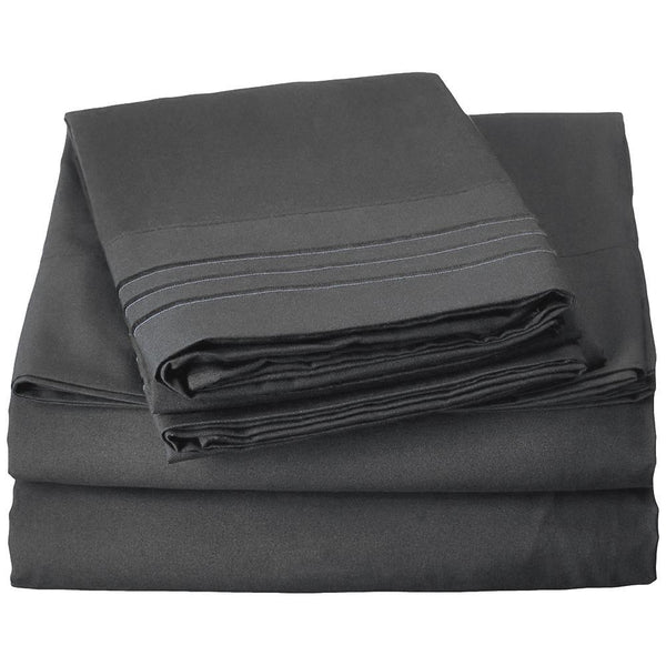 4 PC Solid Sheet Set - Embroidered Hem - Grover Essentials