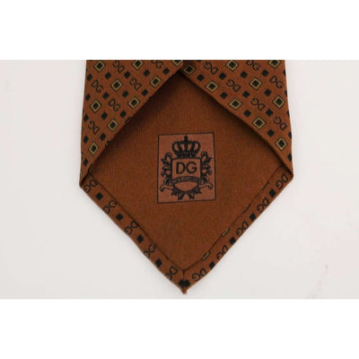 Brown Silk DG Pattern Tie
