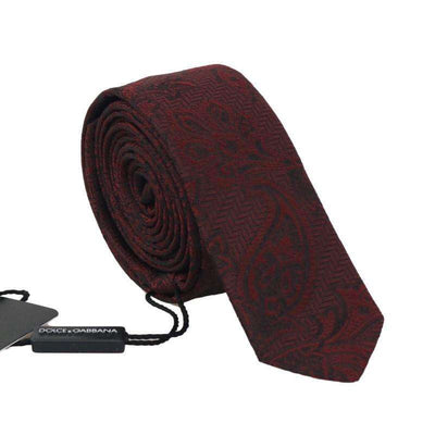 Bordeaux Silk Floral Slim Tie