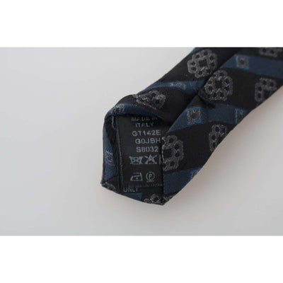 Black Blue Silk Striped Slim Tie