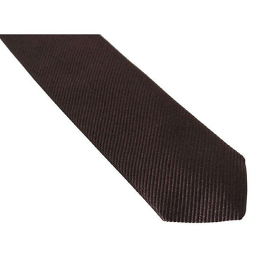 Brown Silk Striped Slim Tie