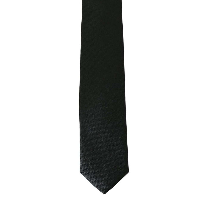 Black Silk Patterned Slim Tie