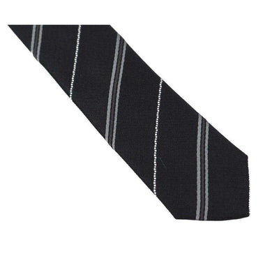 Black Silk Striped Slim Tie
