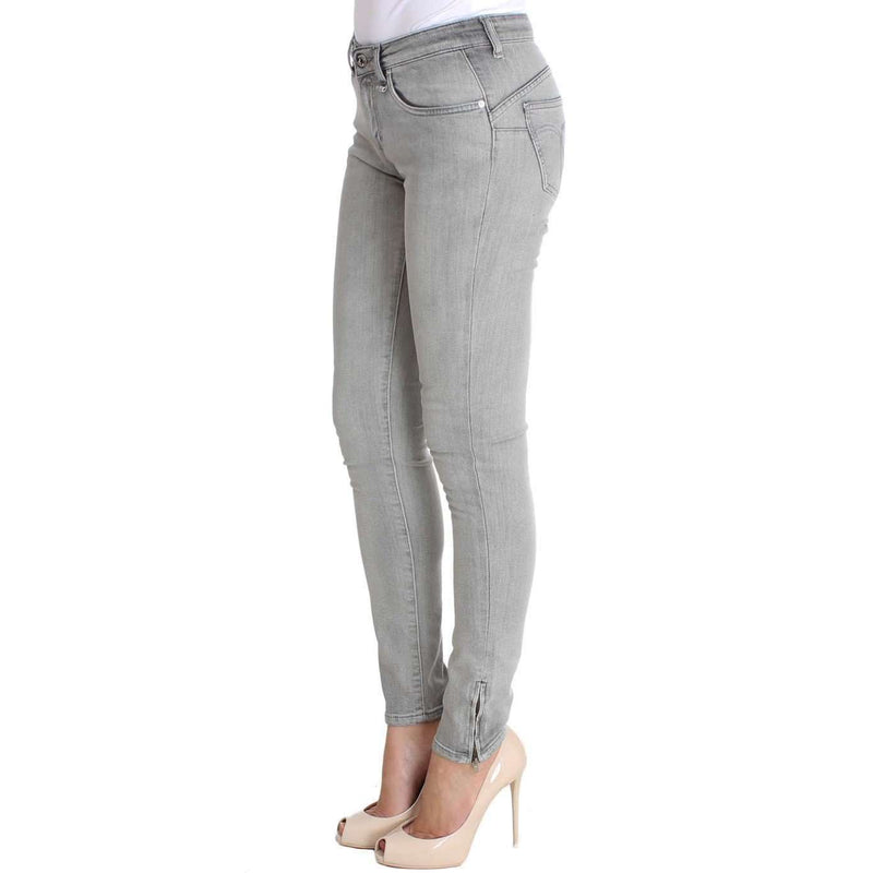 Gray Wash Cotton Denim Stretch Slim Fit Jeans