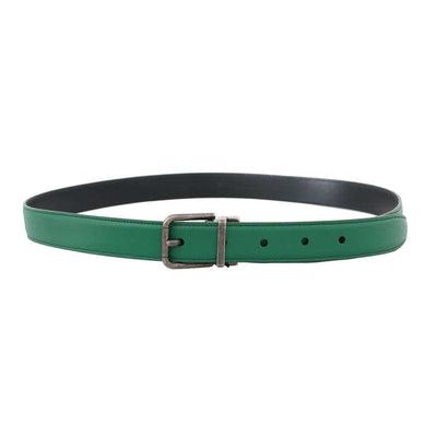 Green Leather Gray Buckle Belt