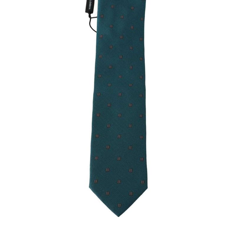 Aquamarine Silk Gray Pattern Tie