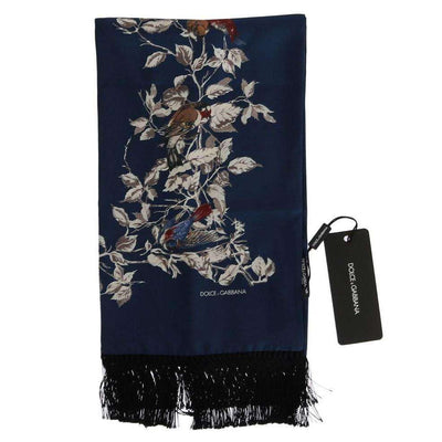 Blue Silk Bird Scarf