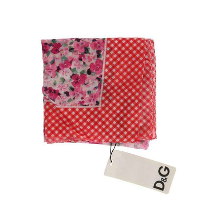 Pink Floral Red Check Cotton Scarf