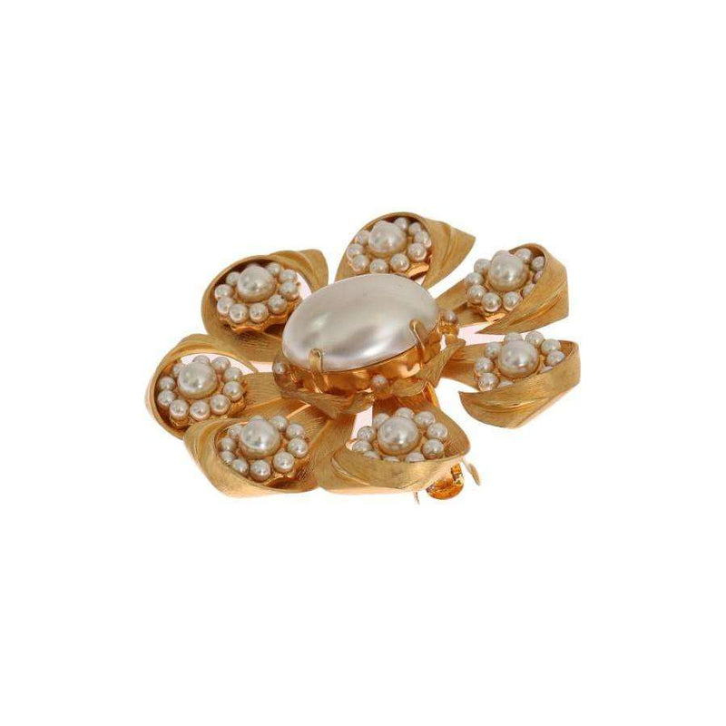 Gold Plated Brass Floral Pearls Hair Clip