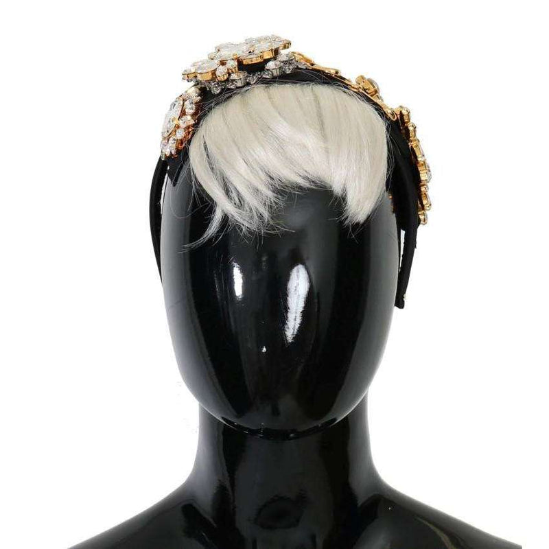 Black Crystal White Hair Headband