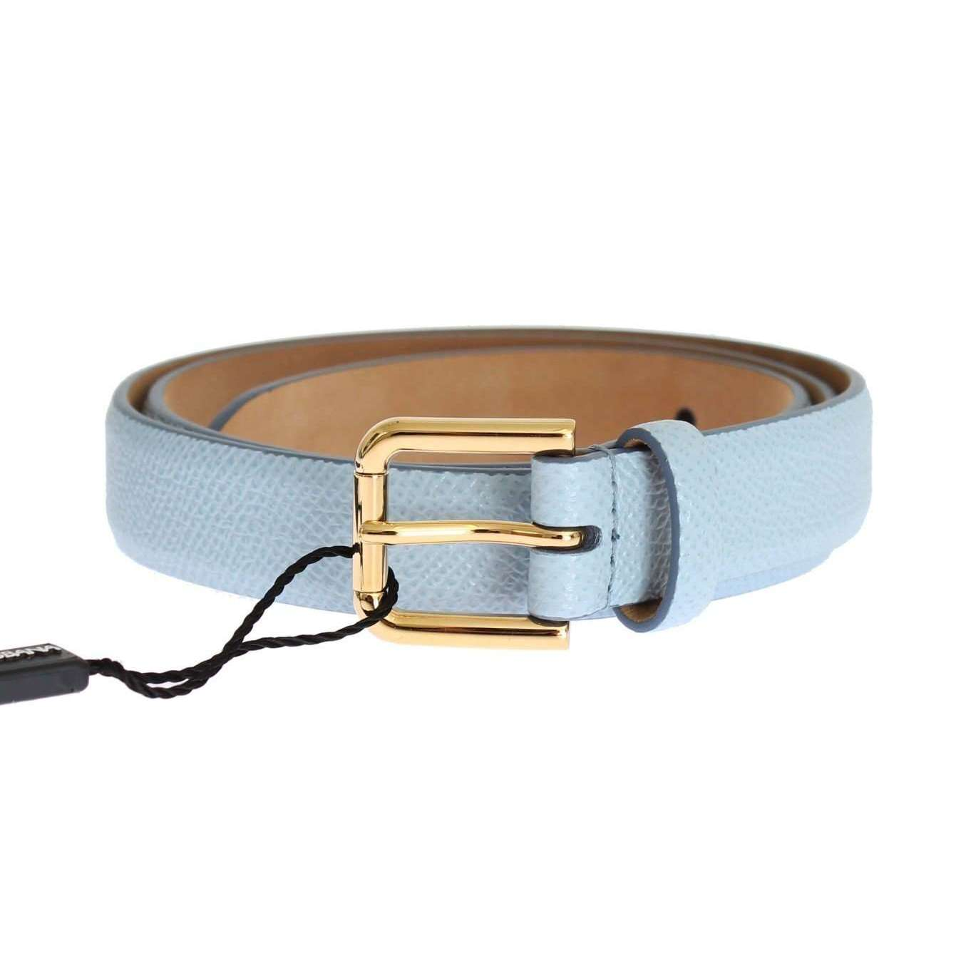 Blue Leather Dauphine Gold Buckle Belt