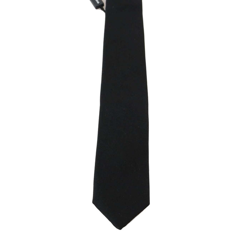 Black Silk Solid Slim Tie