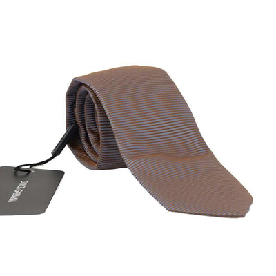 Gray Gold Silk Striped Pattern Tie