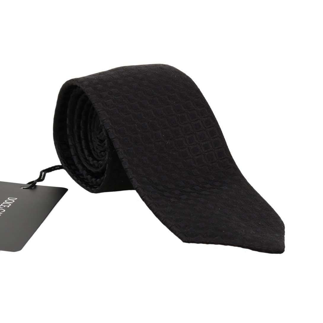 Black Silk Patterned Classic Tie