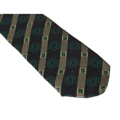 Green Yellow Silk Striped Slim Tie
