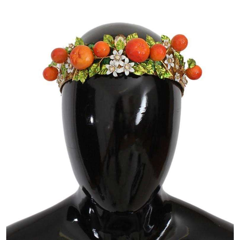 Gold Brass Crystal Sicily Orange ARANCE Tiara