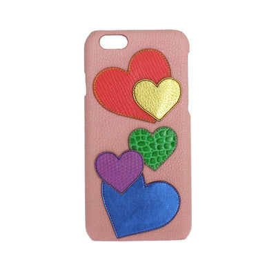 Pink Leather Heart Phone Cover