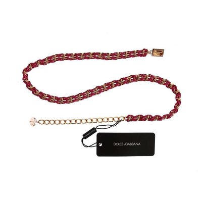 Pink Leather Gold Chain Belt
