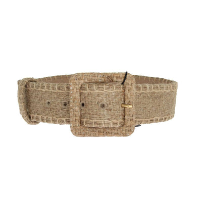 Beige Canvas Leather Wide Belt