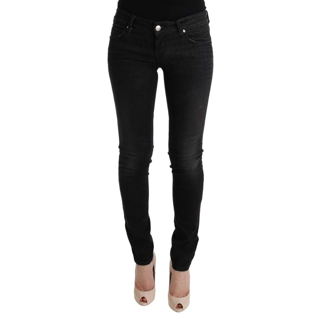 Black Denim Cotton Bottoms Slim Fit Jeans