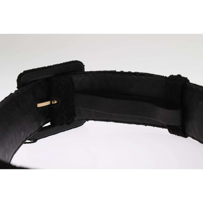 Black Cotton Leather Lace Wide Belt