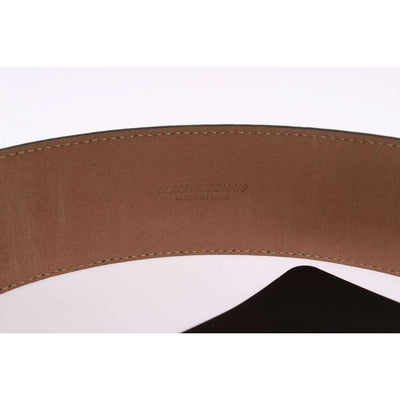 Black Leather Gold Buckle Wide Belt