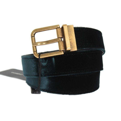 Green Velvet Leather Gold Buckle Belt