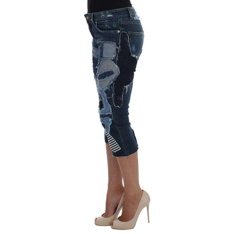 Stretch Blue Patchwork Jeans Shorts