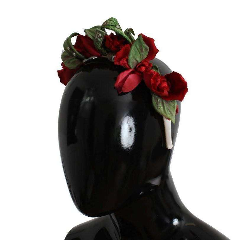 Green Red Roses Floral Studded Silk Headband