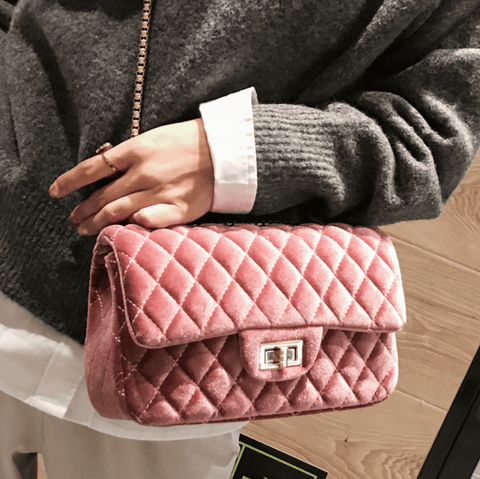 Emily Pink Velour Crossbody Bag