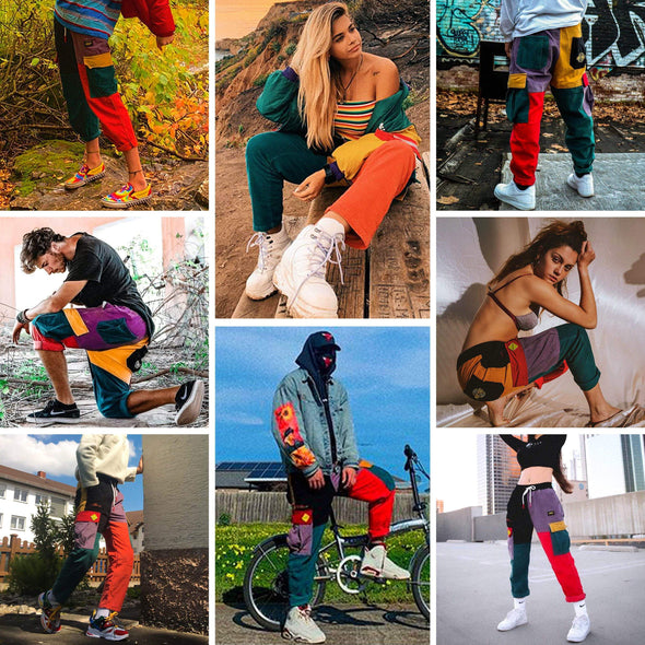 "AE ""Back to 90's"" Patchwork Color Block Corduroy Pants"