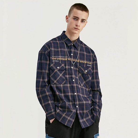 AE LETTER PRINTED PLAID SHIRT