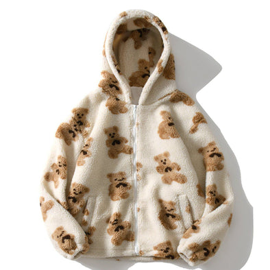 Aelfric Eden Bear Print Sherpa Zip Up Coat