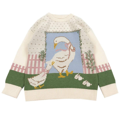 Aelfric Eden Goose Rabbit Jacquard Knitted Sweater