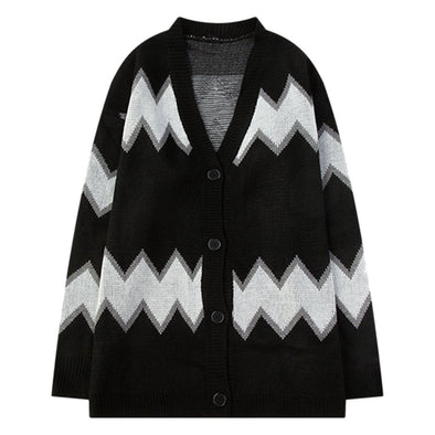 Aelfric Eden Striped Stitching Print Buttoned Sweater