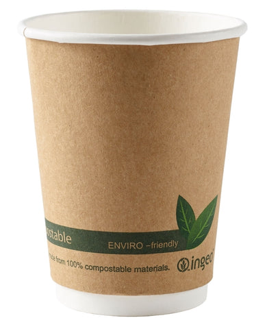 12oz Biodegradable Compostable Brown Double Wall Premium Coffee Cups
